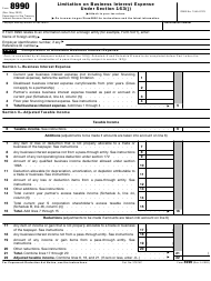 """IRS Form 8990 """"Limitation on Business Interest Expense Under Section 163(J)"""""""