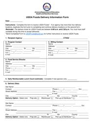 """Usda Foods Delivery Information Form"" - Arizona"