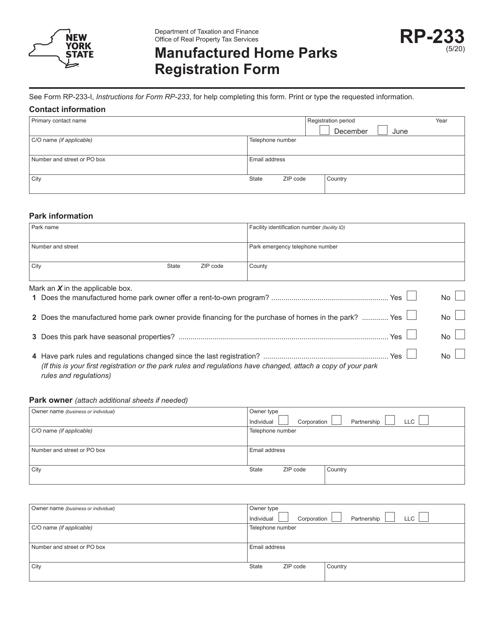 Form RP-233  Printable Pdf