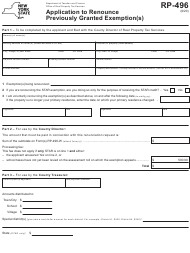 """Form RP-496 """"Application to Renounce Previously Granted Exemption(S)"""" - New York"""