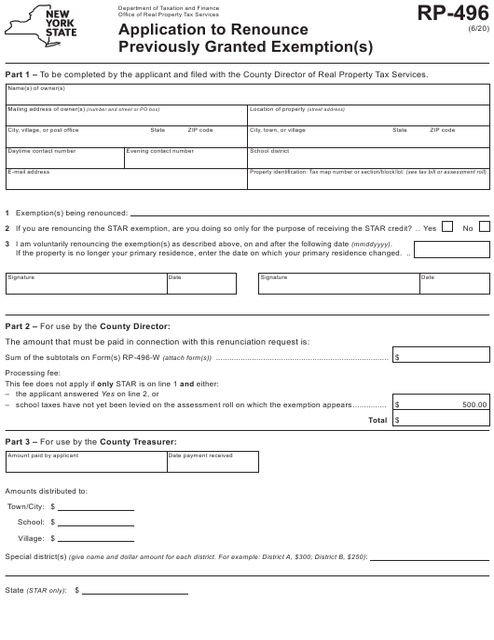 Form RP-496 Printable Pdf