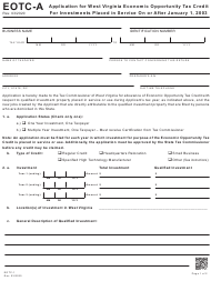 "Form EOTC-A (EOTC-1) ""Application for West Virginia Economic Opportunity Tax Credit for Investments Placed in Service on or After January 1, 2003"" - West Virginia"