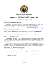 "Instructions for ""Certification of Tobacco Product Manufacturers"" - West Virginia"
