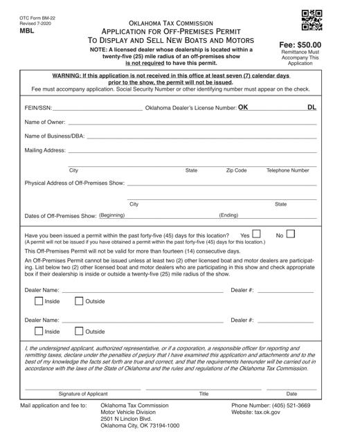 OTC Form BM-22 Printable Pdf