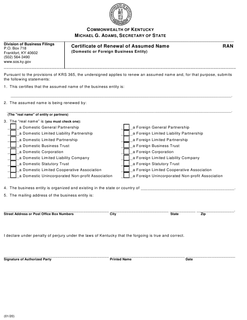 Form RAN Printable Pdf