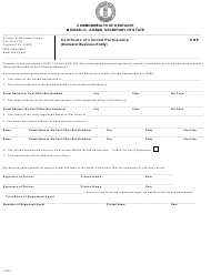"""Form KNP """"Certificate of Limited Partnership (Domestic Business Entity)"""" - Kentucky"""