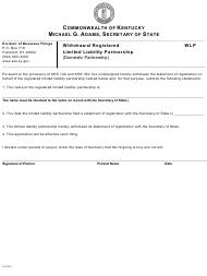 """Form WLP """"Withdrawal of Registered Limited Liability Partnership (Domestic Partnership)"""" - Kentucky"""