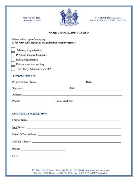 """Name Change Application"" - Delaware Download Pdf"