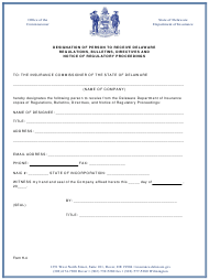 "Form H-4 ""Designation of Person to Receive Delaware Regulations, Bulletins, Directives and Notice of Regulatory Proceedings"" - Delaware"