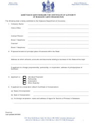 "Form H-2 ""Admittance Questionnaire for Certificate of Authority of Managed Care Organization"" - Delaware"