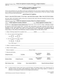 "Form 11 ""Uniform Certificate of Authority Application (Ucaa) Biographical Affidavit"""