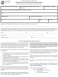 """Form DP-1 (State Form 22917) """"Application for Direct Payment Authorization"""" - Indiana"""