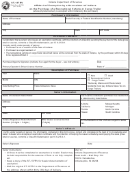 """Form ST-137RV (State Form 52705) """"Affidavit of Exemption by a Nonresident of Indiana on the Purchase of a Recreational Vehicle or Cargo Trailer"""" - Indiana"""