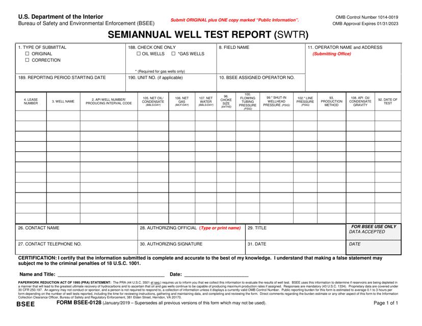 Form BSEE-0128 Printable Pdf