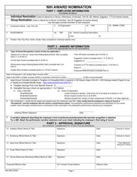 """Form NIH2833 """"Nih Award Nomination"""""""
