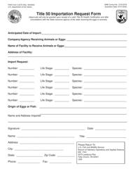 """FWS Form 3-2275 """"Title 50 Importation Request Form"""""""