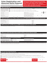 """Form SF76 """"Voter Registration and Absentee Ballot Request"""""""