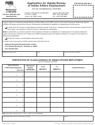 "Form PERS016 ""Application for Alaska Bureau of Indian Affairs Employment"" - Alaska"