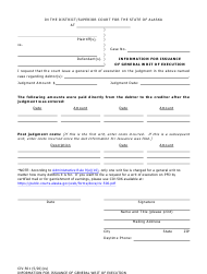 "Form CIV-501 ""Information for Issuance of General Writ of Execution"" - Alaska"