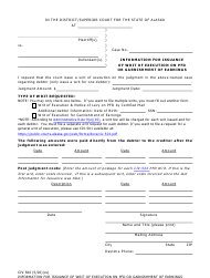 "Form CIV-506 ""Information for Issuance of Writ of Execution on Pfd or Garnishment of Earnings"" - Alaska"