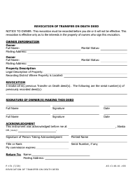 "Form P-151 ""Revocation of Transfer on Death Deed"" - Alaska"