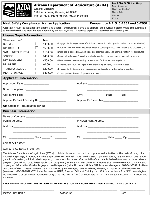 """Meat Safety Compliance License Application"" - Arizona Download Pdf"