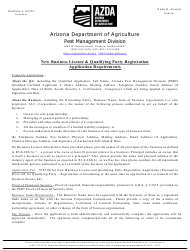 """""""New Business License and Qualifying Party Registration Application"""" - Arizona"""