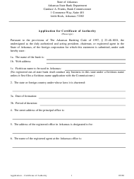 """""""Application for Certificate of Authority"""" - Arkansas"""