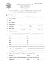 """Form AID-LI-MGA40 """"Managing General Agent Insurance License Application (Corporation, LLC, LLP , and Partnership)"""" - Arkansas"""