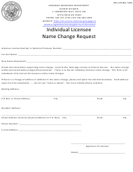 "Form AID-LI-CN ""Individual Licensee Name Change Request"" - Arkansas"