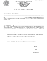 "Form AID-LI-MGA43 ""Managing General Agent Bond"" - Arkansas"