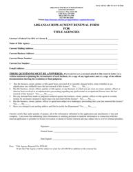 "Form AID-LI-ARF-TI-AGY-R ""Arkansas Replacement Renewal Form for Title Agencies"" - Arkansas"