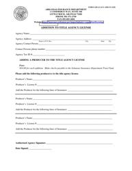 "Form AID-LI-AGY-ADD-TI ""Addition to Title Agency License"" - Arkansas"