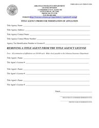"Form AID-LI-AGY-TERM-TI ""Title Agency Producer Termination of Affliation"" - Arkansas"