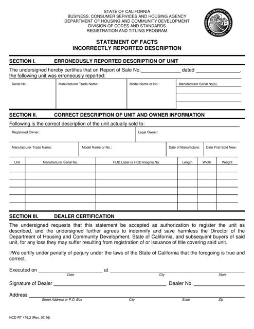 Form HCD RT476.3  Printable Pdf