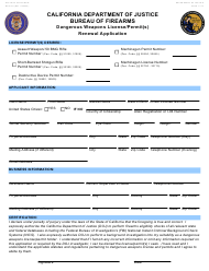 "Form BOF031 ""Dangerous Weapons License/Permit(S) Renewal Application"" - California"