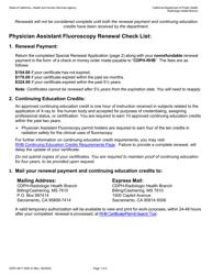"Form CDPH8217 SRA III ""Physician Assistant Fluoroscopy Permit Renewal"" - California"