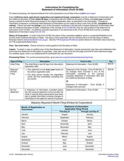 Form SI-550  Printable Pdf