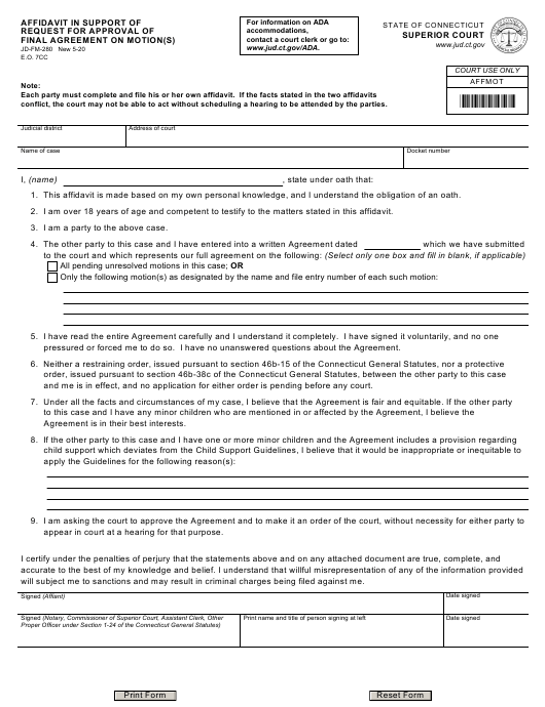 Form JD-FM-280  Printable Pdf