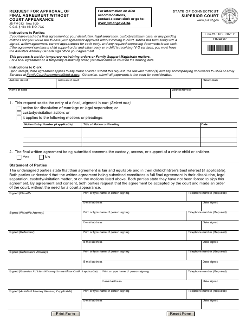 Form JD-FM-282  Printable Pdf