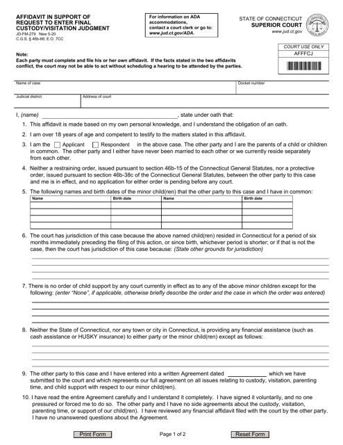 Form JD-FM-279  Printable Pdf