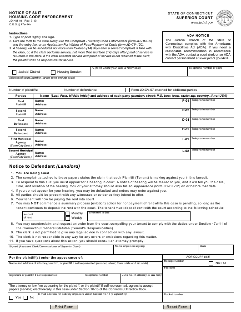 Form JD-HM-19 Printable Pdf