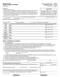 """Form JD-HM-19 """"Notice of Suit Housing Code Enforcement"""" - Connecticut"""