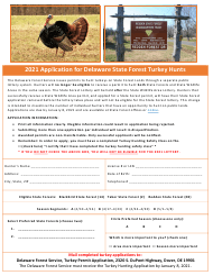 """Application for Delaware State Forest Turkey Hunts"" - Delaware, 2021"