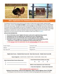 """Application for Delaware State Forest Turkey Hunts"" - Delaware"