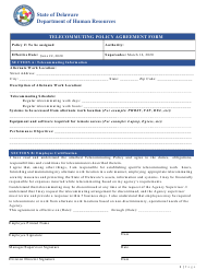 """""""Telecommuting Policy Agreement Form"""" - Delaware"""