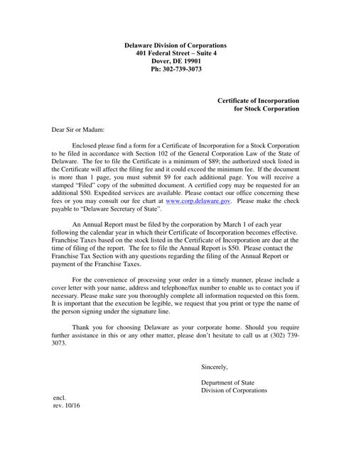 """Certificate of Incorporation a Stock Corporation"" - Delaware Download Pdf"