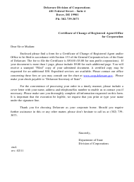 """""""Certificate of Change of Registered Agent and/or Registered Office"""" - Delaware"""