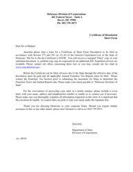 """Certificate of Dissolution Short Form"" - Delaware"