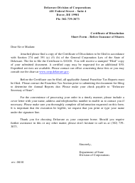 """""""Short Form Certificate of Dissolution Before the Issuance of Shares"""" - Delaware"""